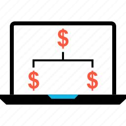 dollar, ecommerce, laptop, shop, shopping, sign, stragegy icon