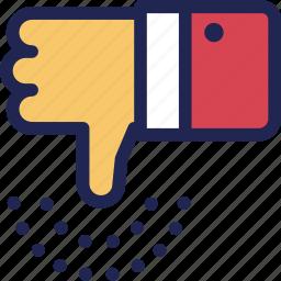 bad, dislike, down, feedback, hand, thumb, unlike icon