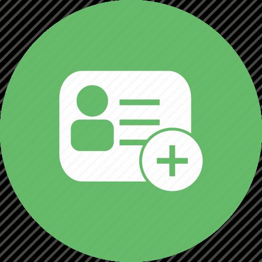 add, card, membership, new, profile, user icon