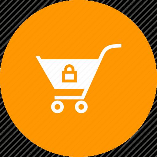 cart, locked, shopping, trolley icon