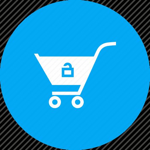 cart, crawler, shopping, trolley, unlock icon