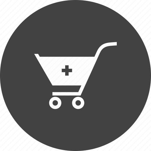 add, cart, items, more, shopping, trolley icon