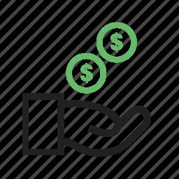 cash, cent, dollar, funding, hand icon
