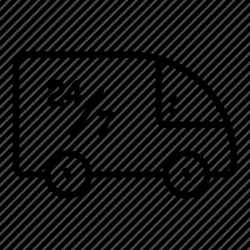delivery, delivery van, shopping, truck, twenty four seven, van icon
