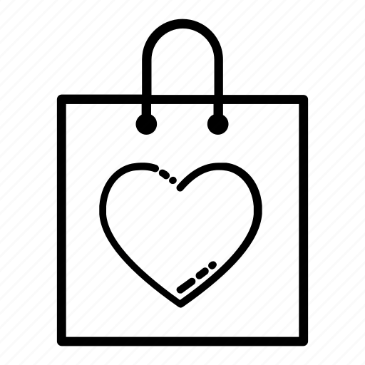 favourite, goods, heart, saved items, shopping, shopping bag, shopping basket icon