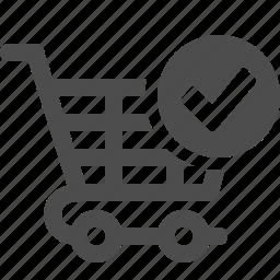 cart, check sign, ok, shopping, shopping cart icon