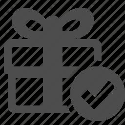 box, check sign, gift, gift box, ok, present, verified icon