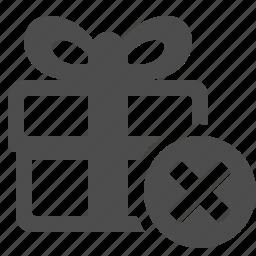 box, cancel, close, gift, gift box, present, x icon