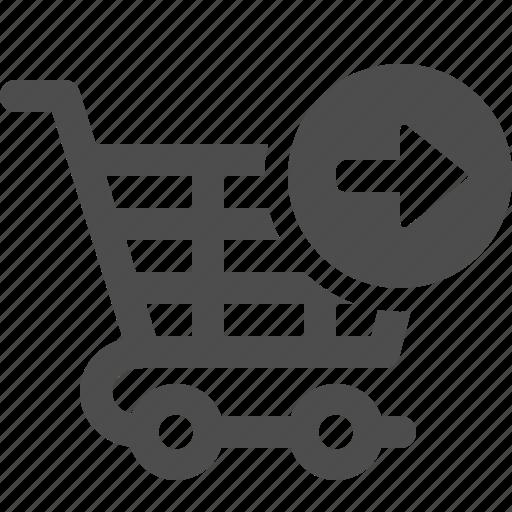 arrow, cart, shopping, shopping cart icon