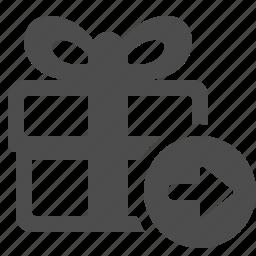 arrow, box, gift, gift box, present icon