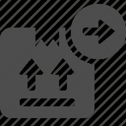 arrow, box, crate, delivery icon