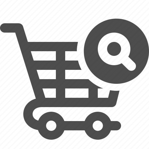 cart, magnifying glass, shopping, shopping cart icon
