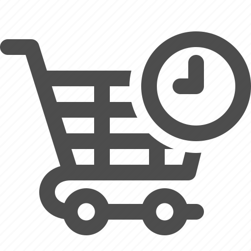cart, clock, deadline, shopping, shopping cart icon