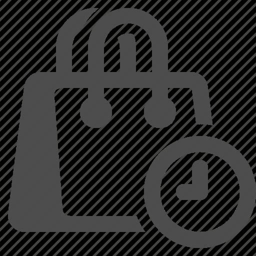 bag, clock, deadline, shopping, shopping bag icon