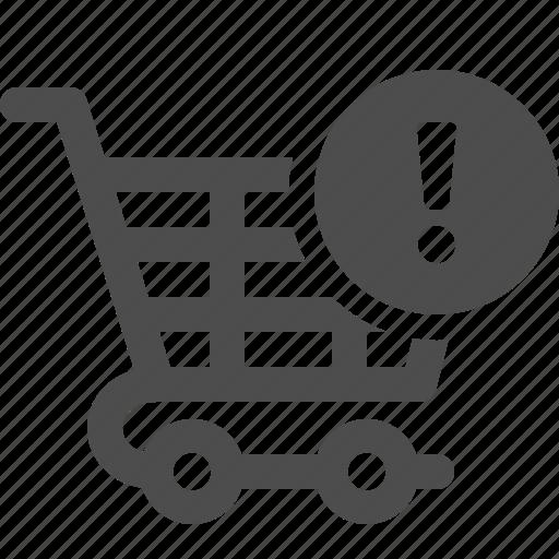 cart, exclamation mark, shopping, shopping cart, warning icon