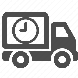clock, deadline, delivery, timer, transport, transportation, truck icon