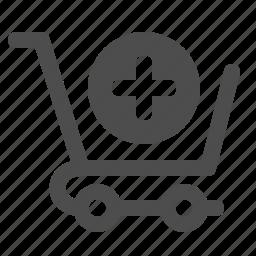 add, cart, plus, shopping, shopping cart icon