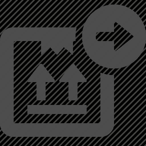 arrow, box, button, crate, send icon