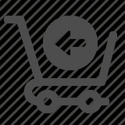 arrow, cart, return, shopping, shopping cart icon