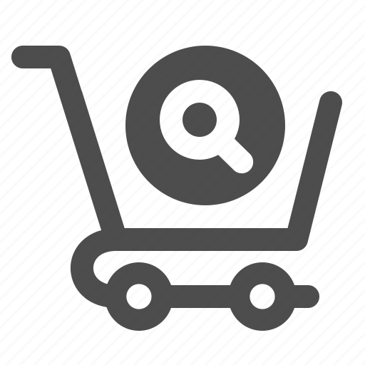 cart, magnifying glass, search, shopping icon