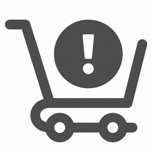 cart, exclamation, shopping, shopping cart, warning icon