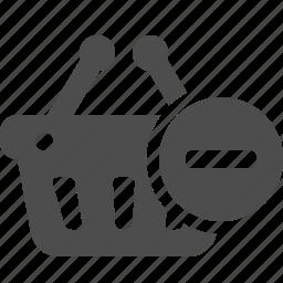 basket, button, cancel, minus, shopping icon