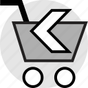 arrow, back, left, shopping icon