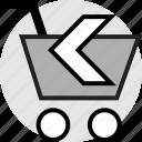 arrow, back, left, shopping icon
