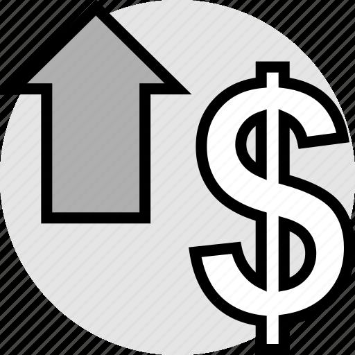 arrow, click, dollar icon