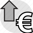 arrow, euro, pay, up icon