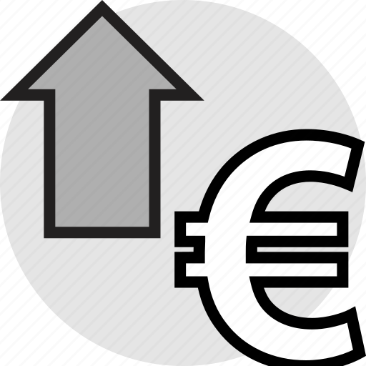 arrow, euro, pay, up icon