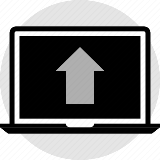 arrow, laptop, pointer, up icon