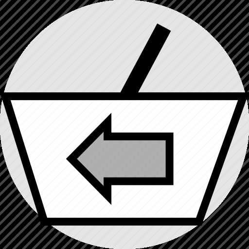 arrow, bag, hand, left icon