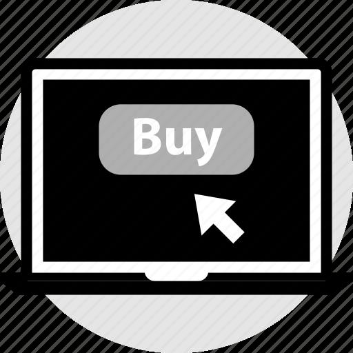 buy, click, laptop, now icon