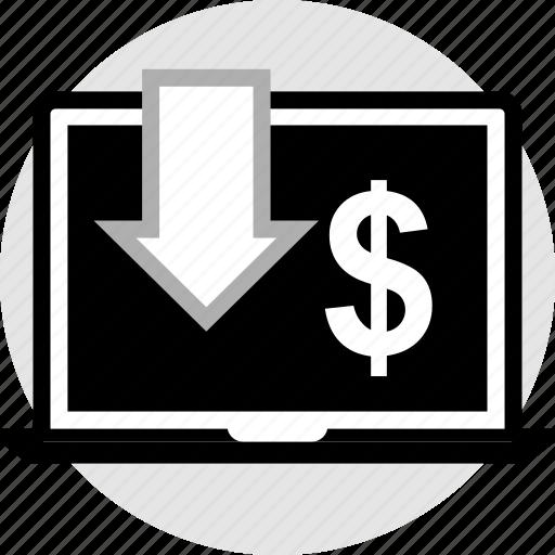 dollar, laptop, pointer icon