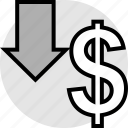 arrow, down, funds, pay icon