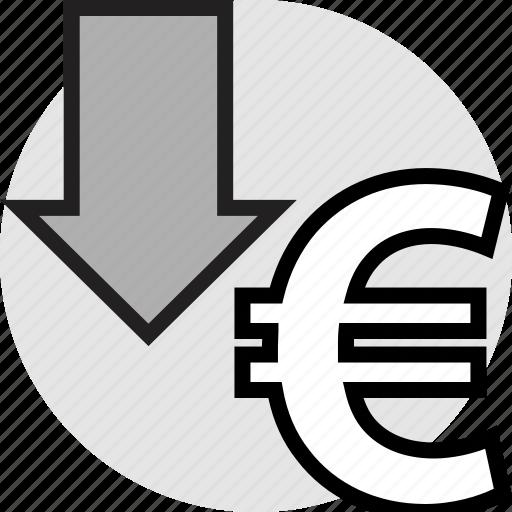arrow, down, euro, pointer icon