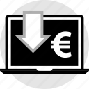 euro, laptop, pc icon