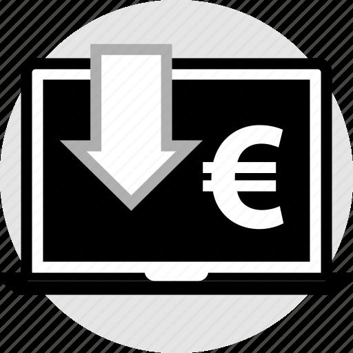 euro, laptop, pc icon