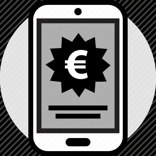 euro, mobile, phone icon