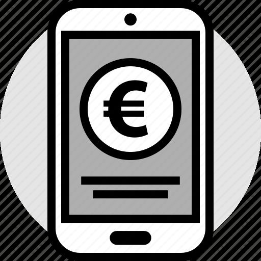 euro, merchandise, mobile, phone icon