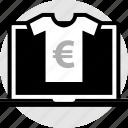 euro, laptop, sign, tshirt icon