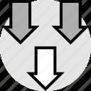 arrows, low, sales icon