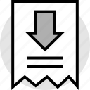 arrow, note, receipt icon