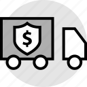 secured, ship, shipping, truck icon
