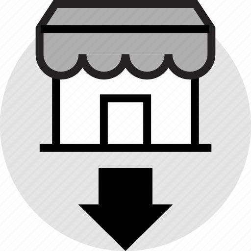 arrow, down, front, store icon