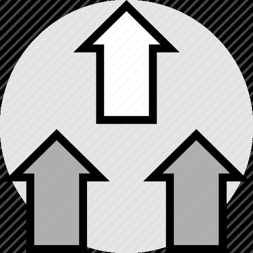 arrows, sales, three, up icon