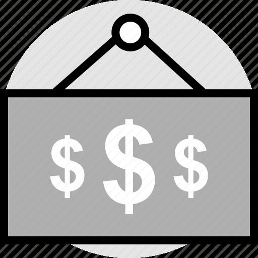 dollar, store, three icon