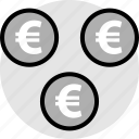 euro, pay, signs, three icon