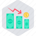 dollar, down, money, revenue, sales, sales down, value icon